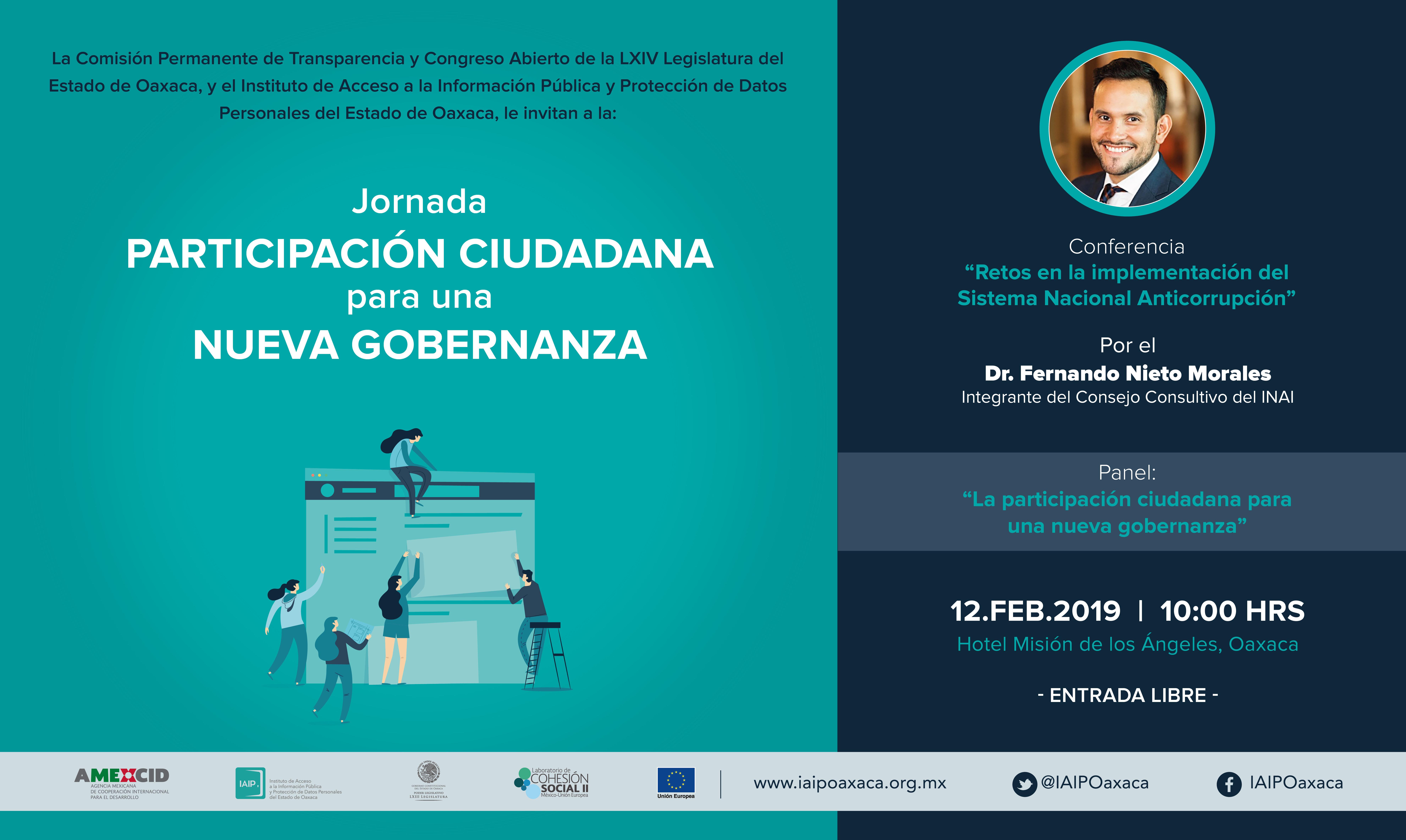 IAIPO, INAI y Congreso de Oaxaca impulsan Jornada de Participación Ciudadana para una nueva Gobernanza